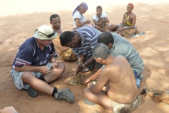 Kalahari - Our Cook Charles Shows The Bushmen How To Make Fire