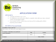 British Exploring Society Application Form