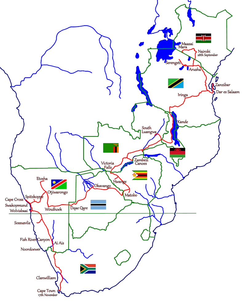 Safari 2013 Nairobi to Cape Tow - Route Map