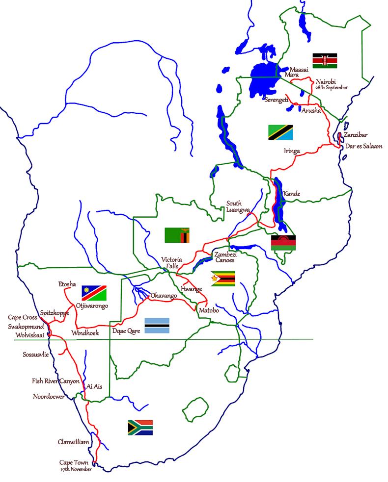Safari 2013 Nairobi to Cape Tow - Route Map